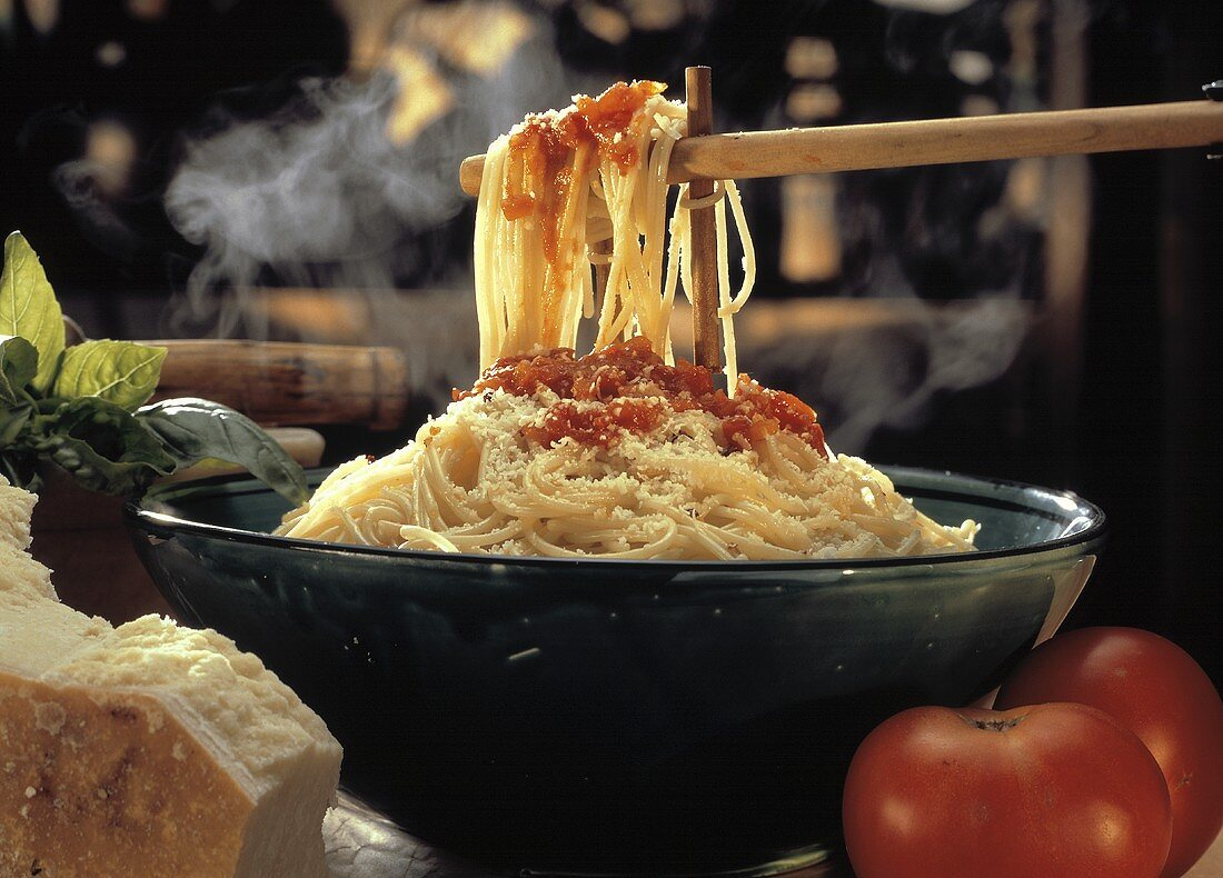Bowl of Spaghetti with Tomato Sauce; Cheese