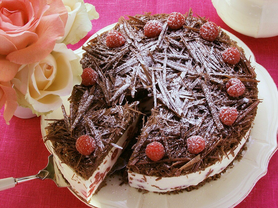 Chocolate raspberry gateau with icing sugar, a piece cut
