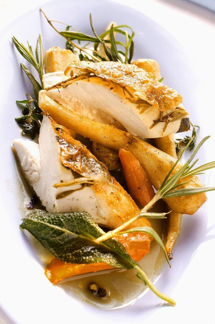 Chicken breast, stuffed under the skin with herbs