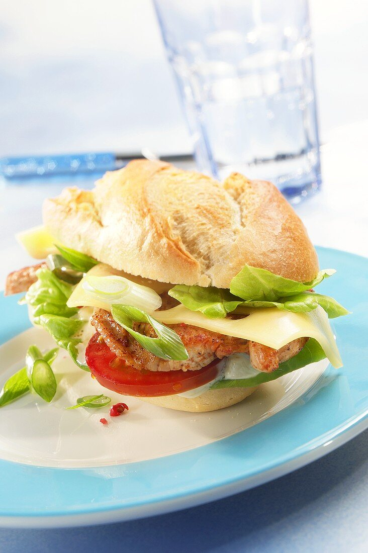 Office snack: meat, cheese and tomato in bread roll
