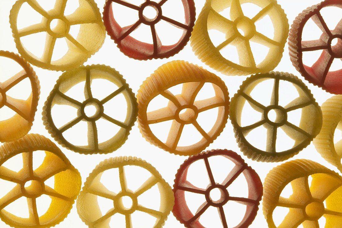 Coloured pasta wheels