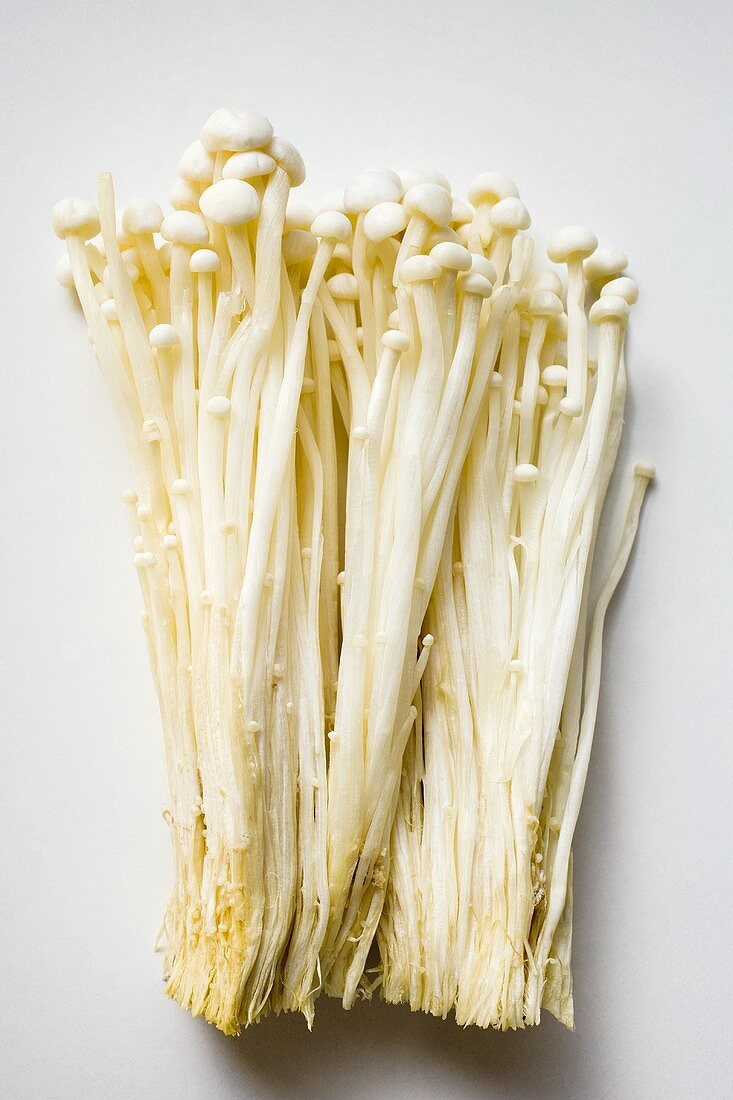 Fresh enokitake mushrooms
