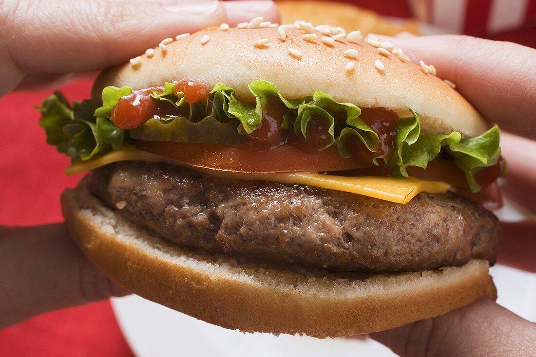 Hands holding cheeseburger