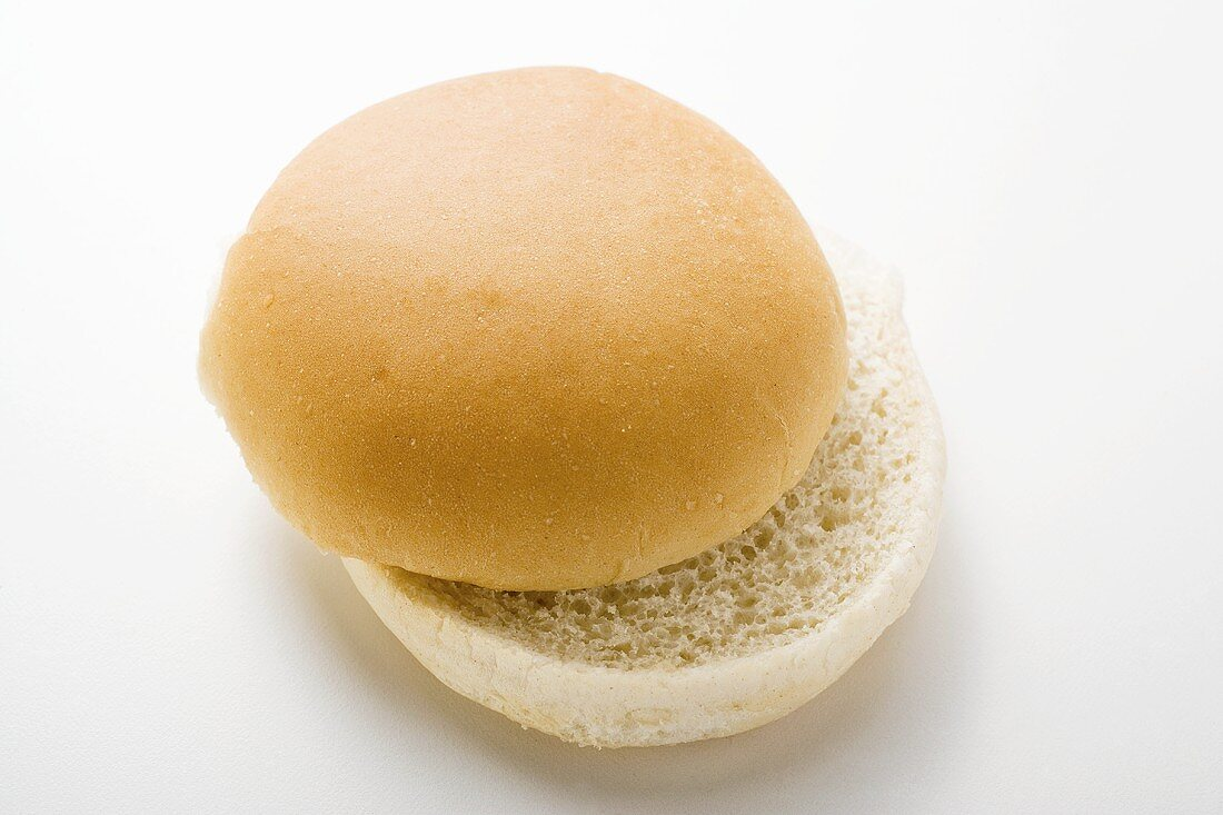 A hamburger bun, split