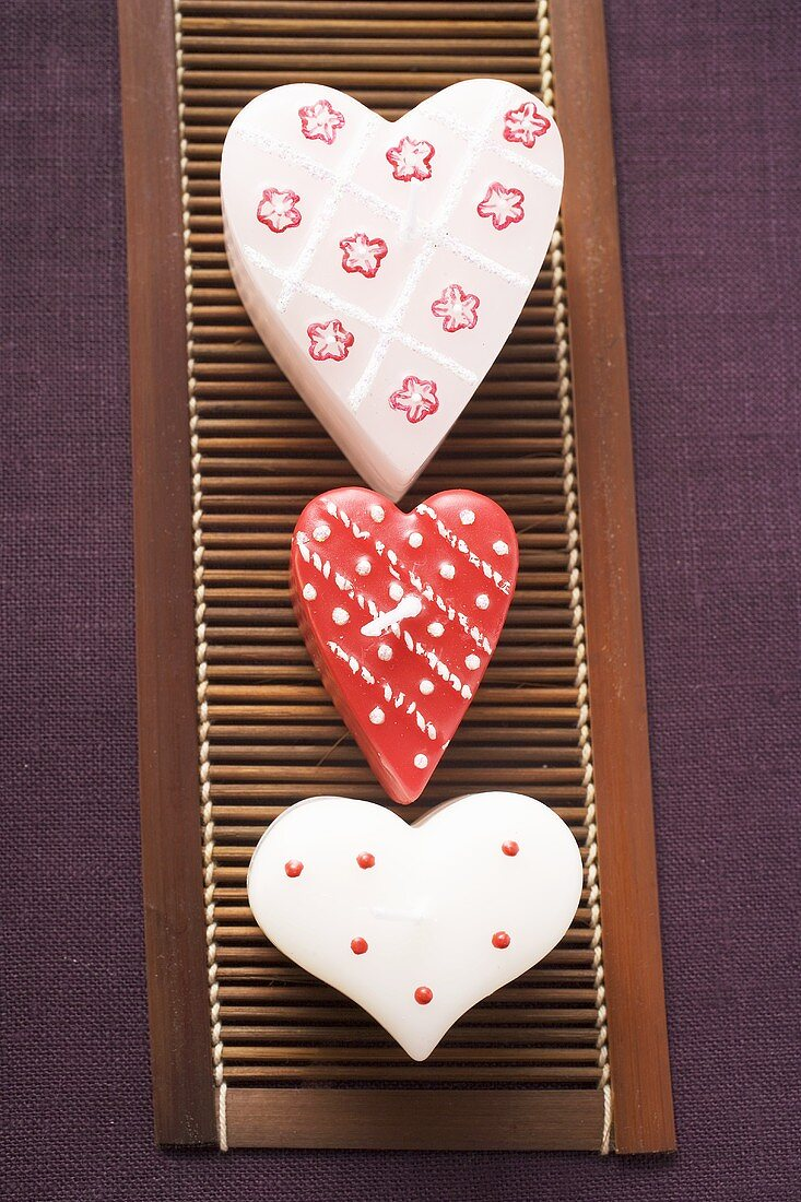 Heart-shaped candles for Valentine's Day