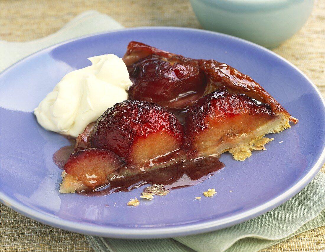 A piece of plum tarte tatin