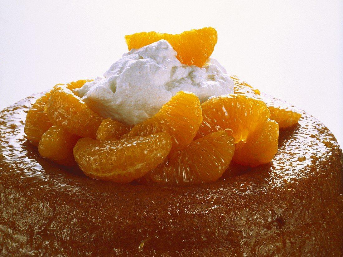 Savarin with mandarin oranges