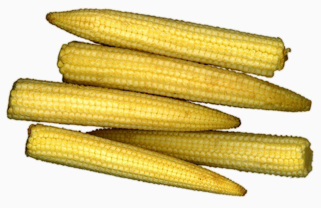 Five small corncobs