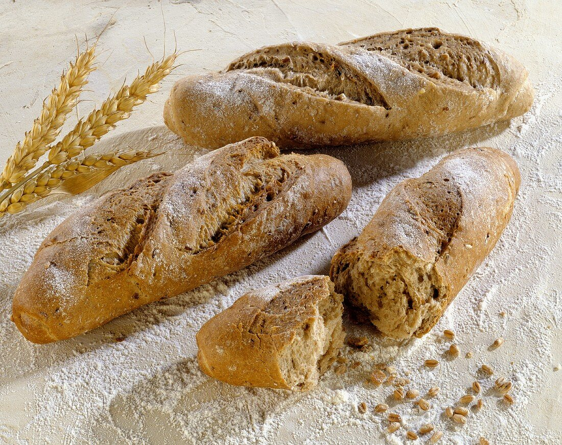 Three baguette rolls