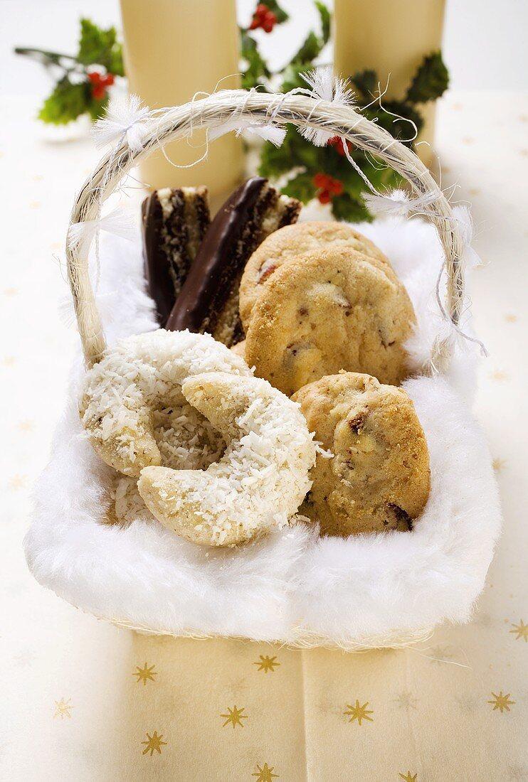 Basket of Christmas baking (coconut crescents, cookies etc.)