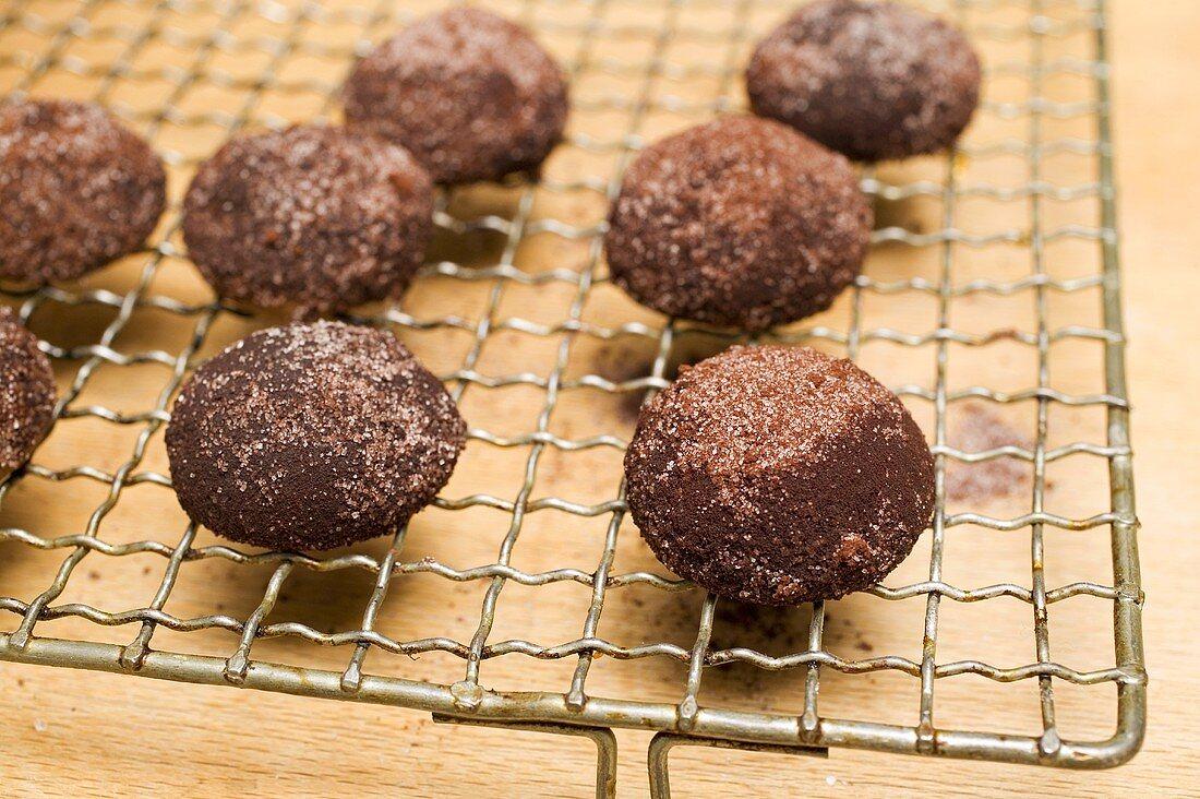 Hazelnut biscuits on cake rack