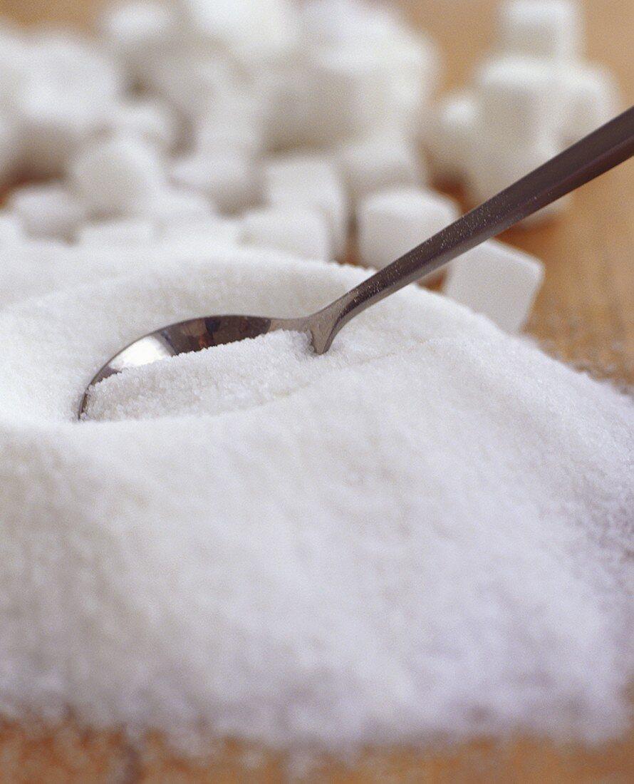 Granulated sugar and sugar cubes
