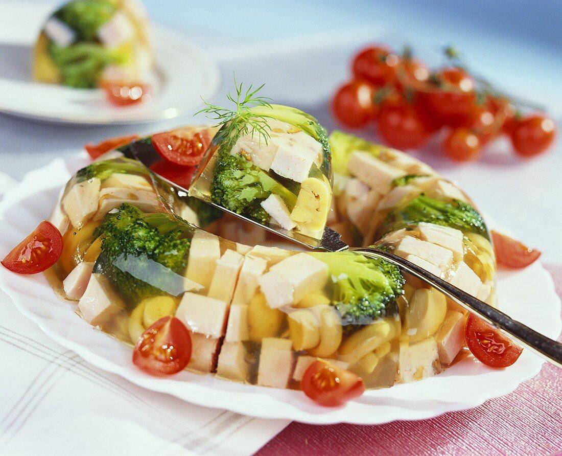 Ham and broccoli in aspic