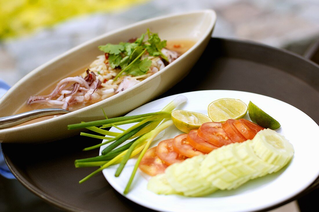 Cuttlefish with vegetable side dish (Thailand)