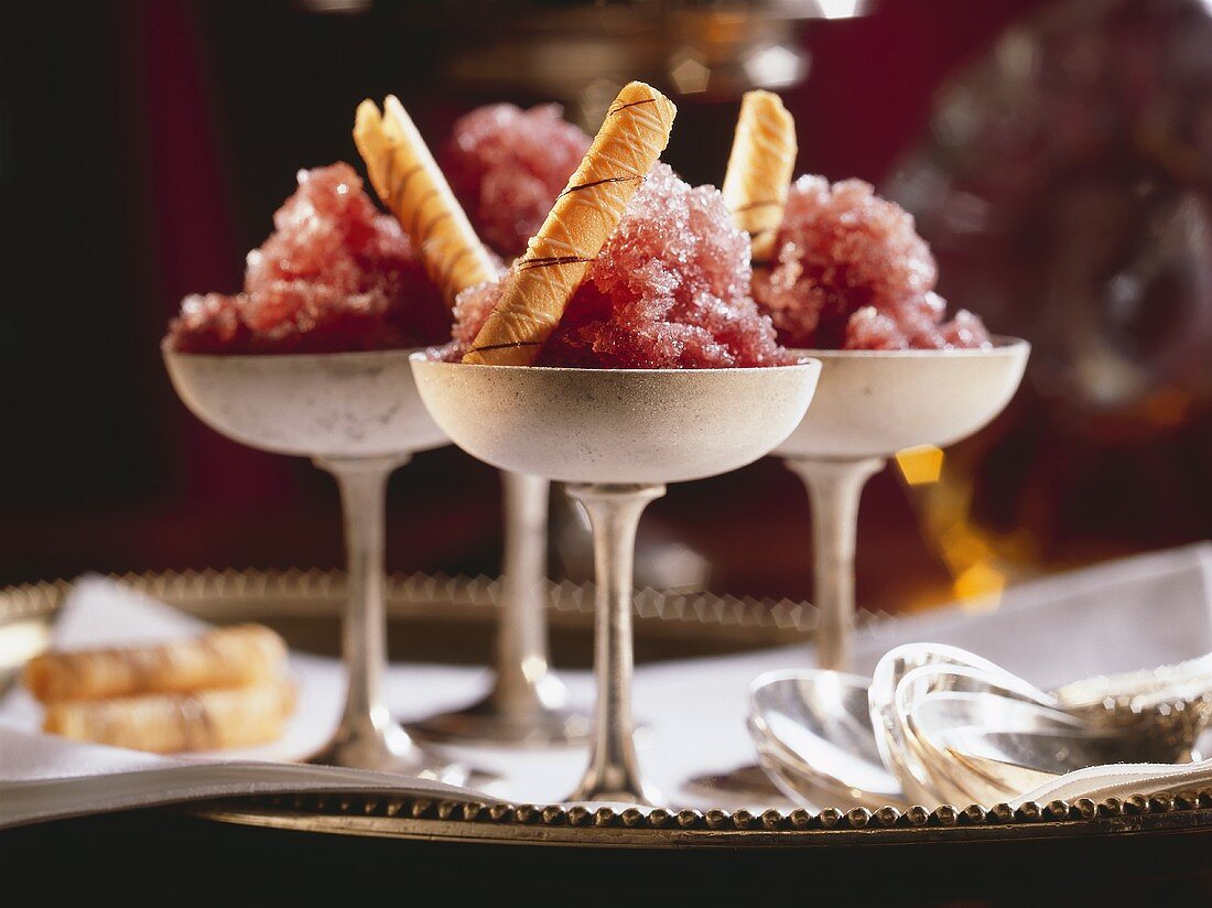 Red Wine Sorbet with Rolled Almond Cookies