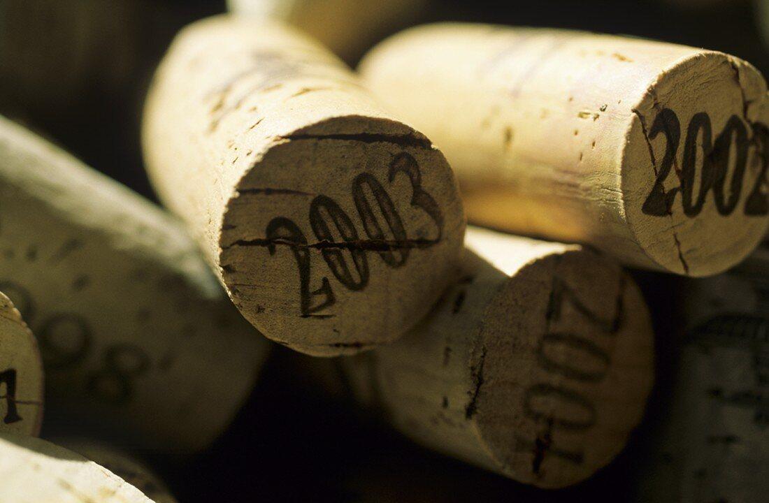Wine corks showing the vintage