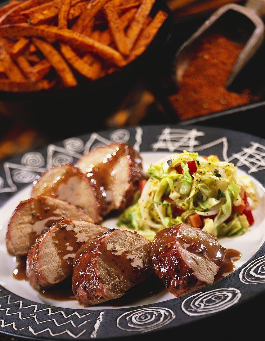 Sliced Pork Loin with Gravy and Slaw