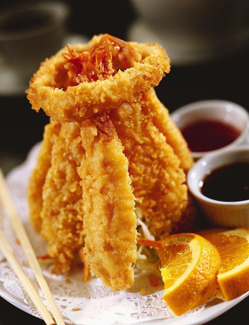 Crispy Fried Shrimp Bundled with an Onion Ring