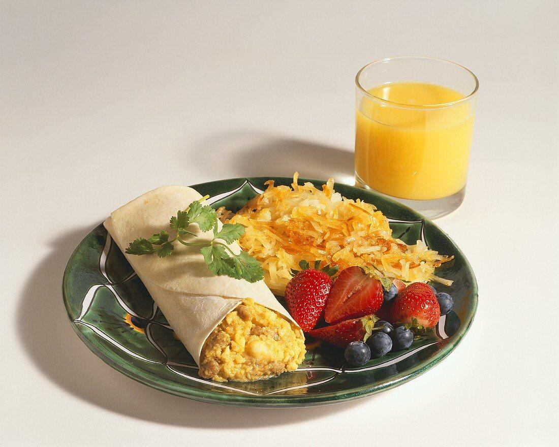 Breakfast Burrito with Hash Browns and Orange Juice