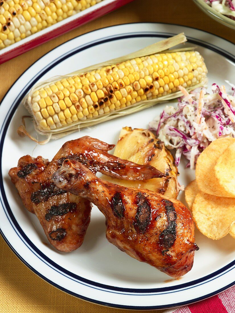 Lime Glazed Grilled Chicken with Corn and Cole Slaw