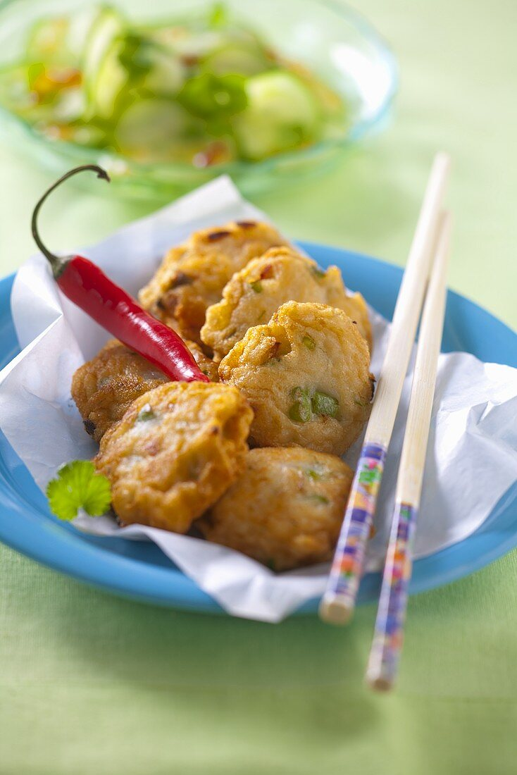 Fish cakes with chilli peppers (Thailand)