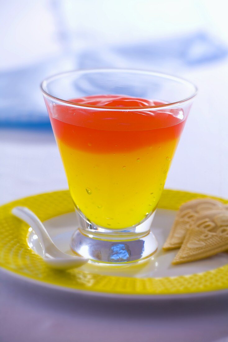 Two tone jelly in a glass