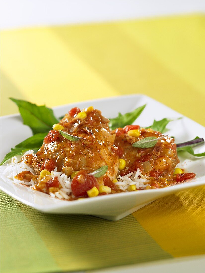 Chicken ragout with tomatoes, sweetcorn and rice
