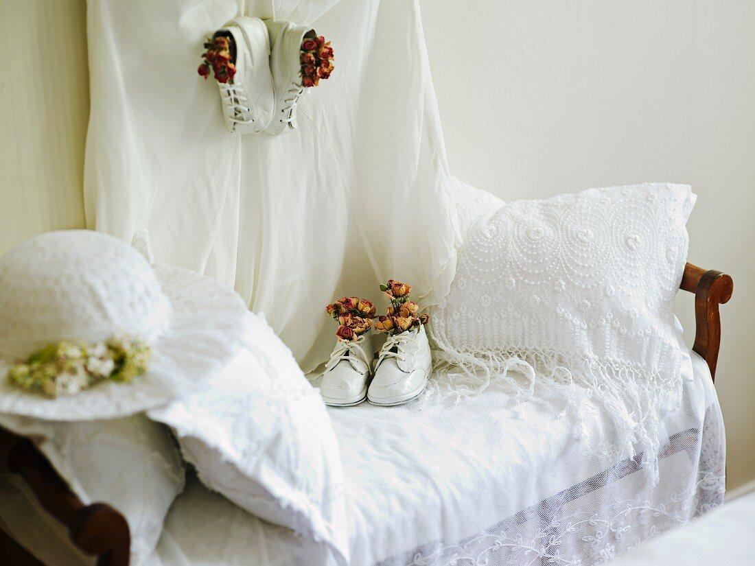 Wedding clothes on an antique sofa