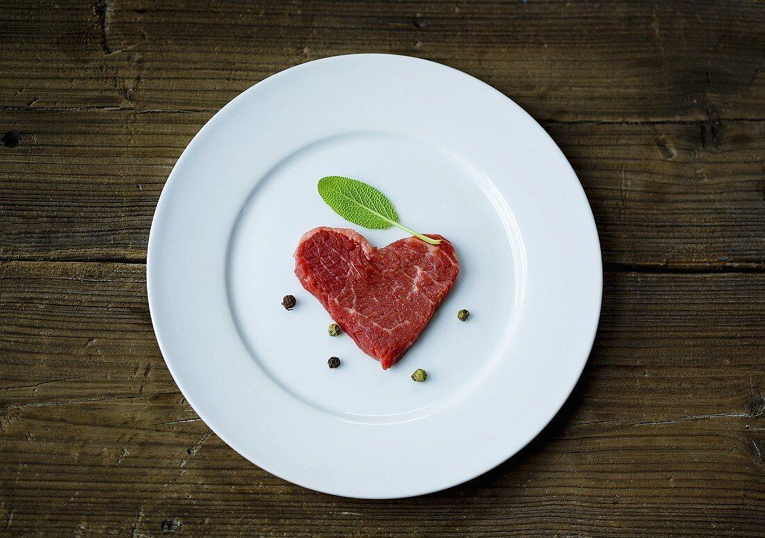 Fresh beef fillet in a heart-shape