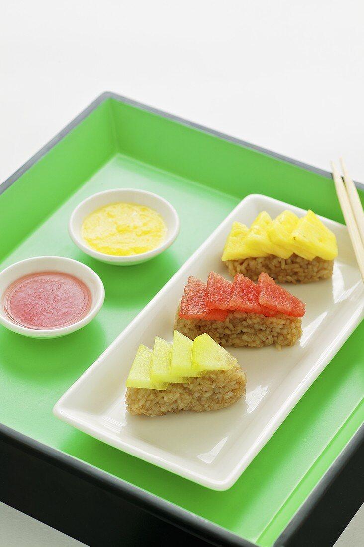 Exotic fruit sashimis with almond jasmin rice (Asia)