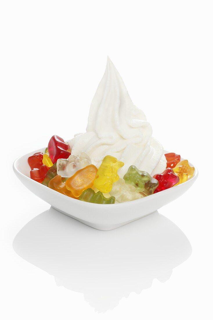 Yogurt ice cream garnished with gummy bears
