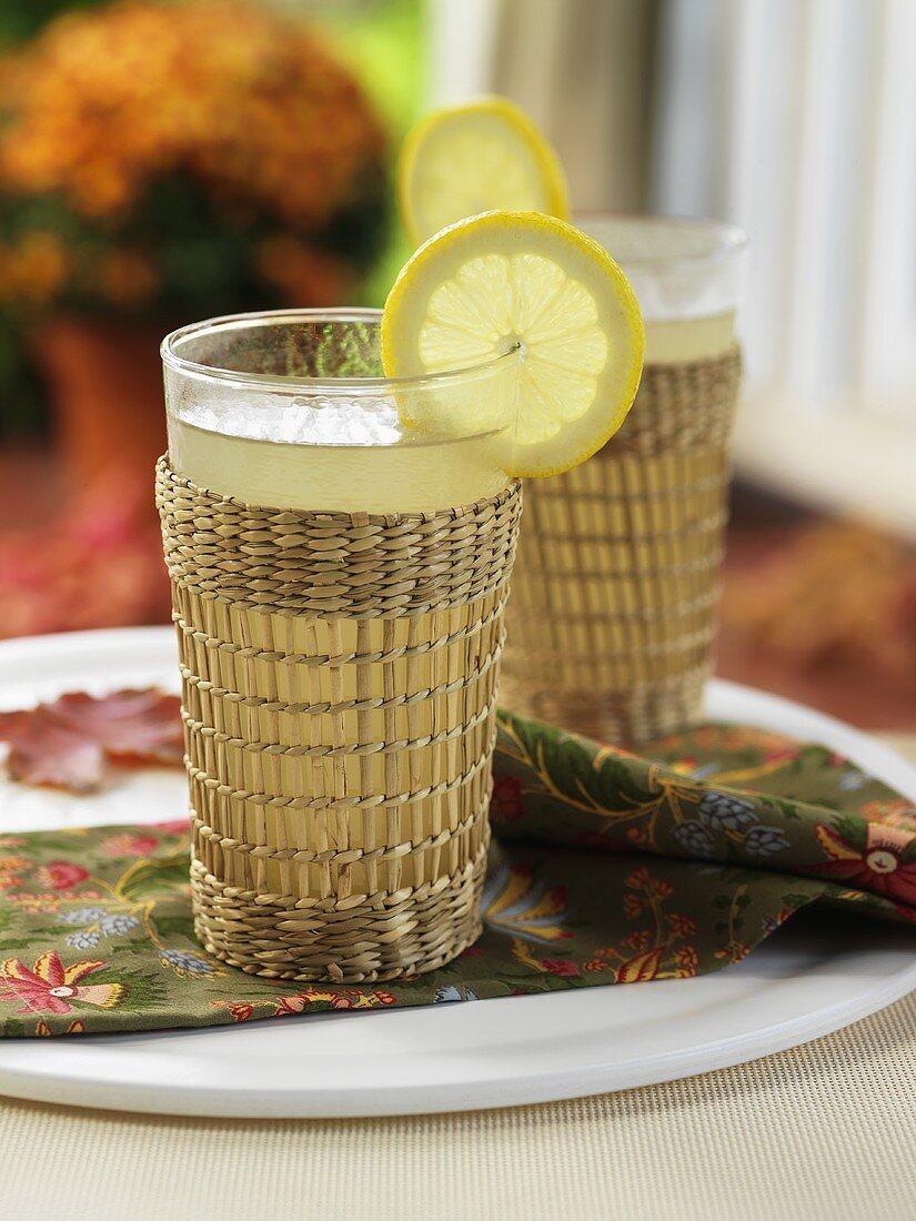 Two glasses of Lemon Barley (Whisky, honey and lemon juice)
