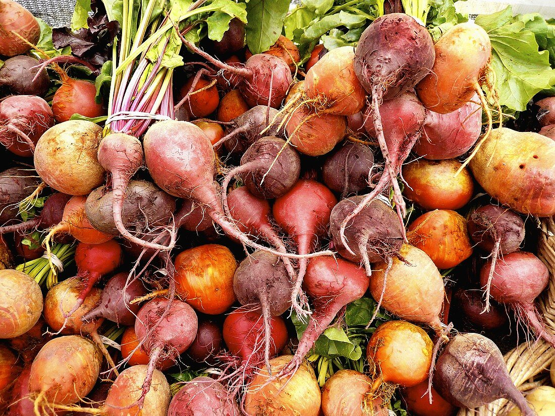 Heirloom Beets in Varied Colors at Farmer's Market