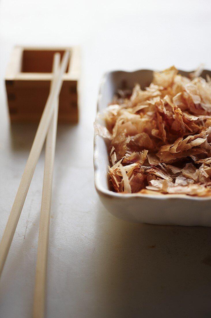 Dried Japanese Bonito Flakes in Asian Bowl