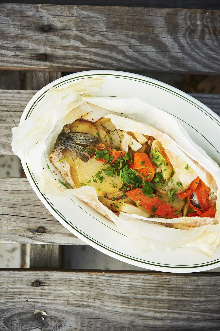 Trout en Papillote with Vegetables and Parsley