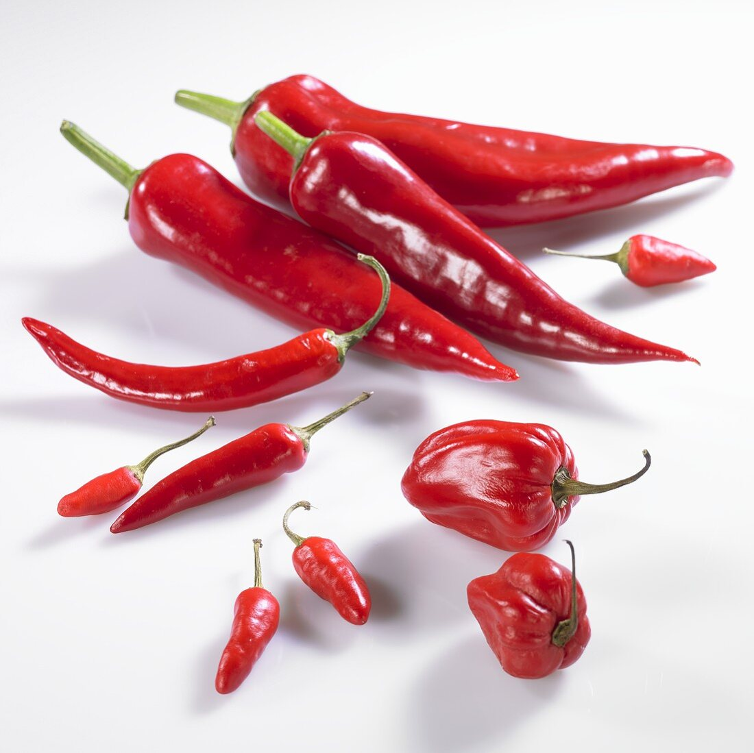 Red pointed peppers, mini peppers, chilli peppers and piri-piri