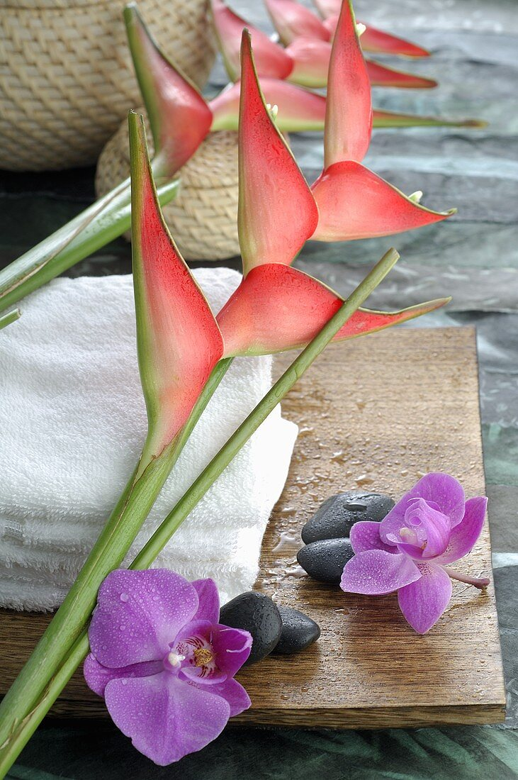 Heliconias with towels and orchid flowers