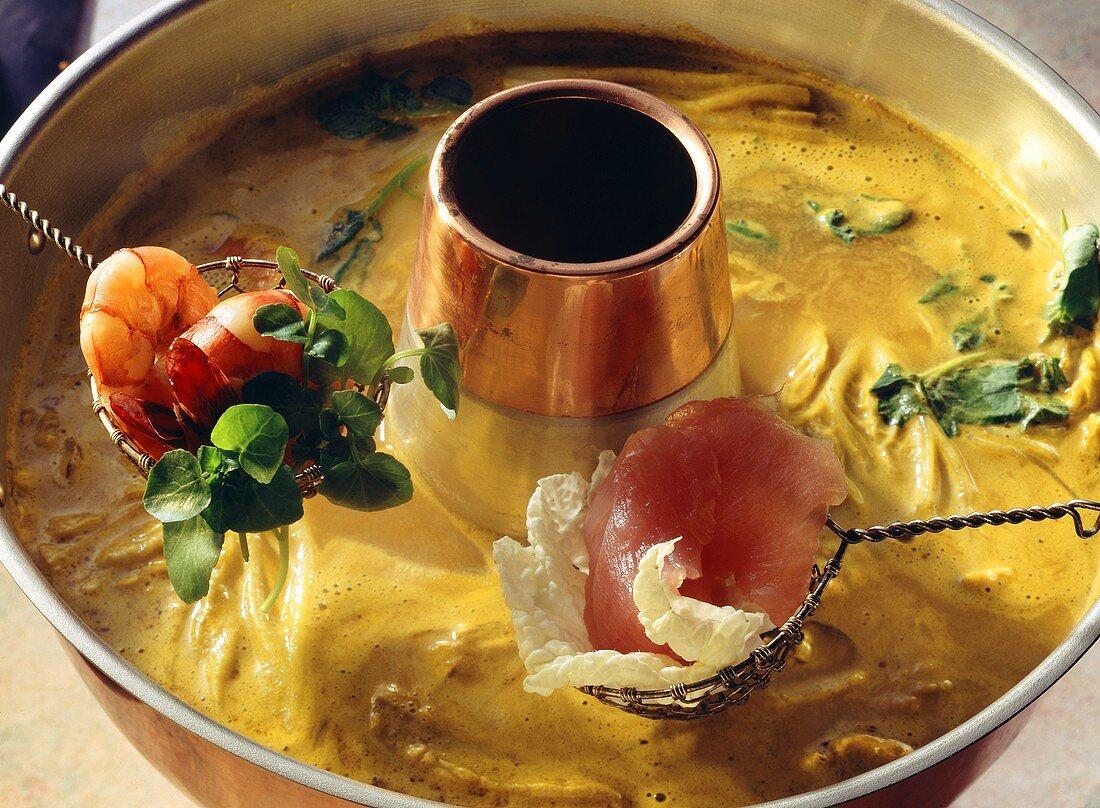 Coconut-Curry Fondue in a Hot Pot