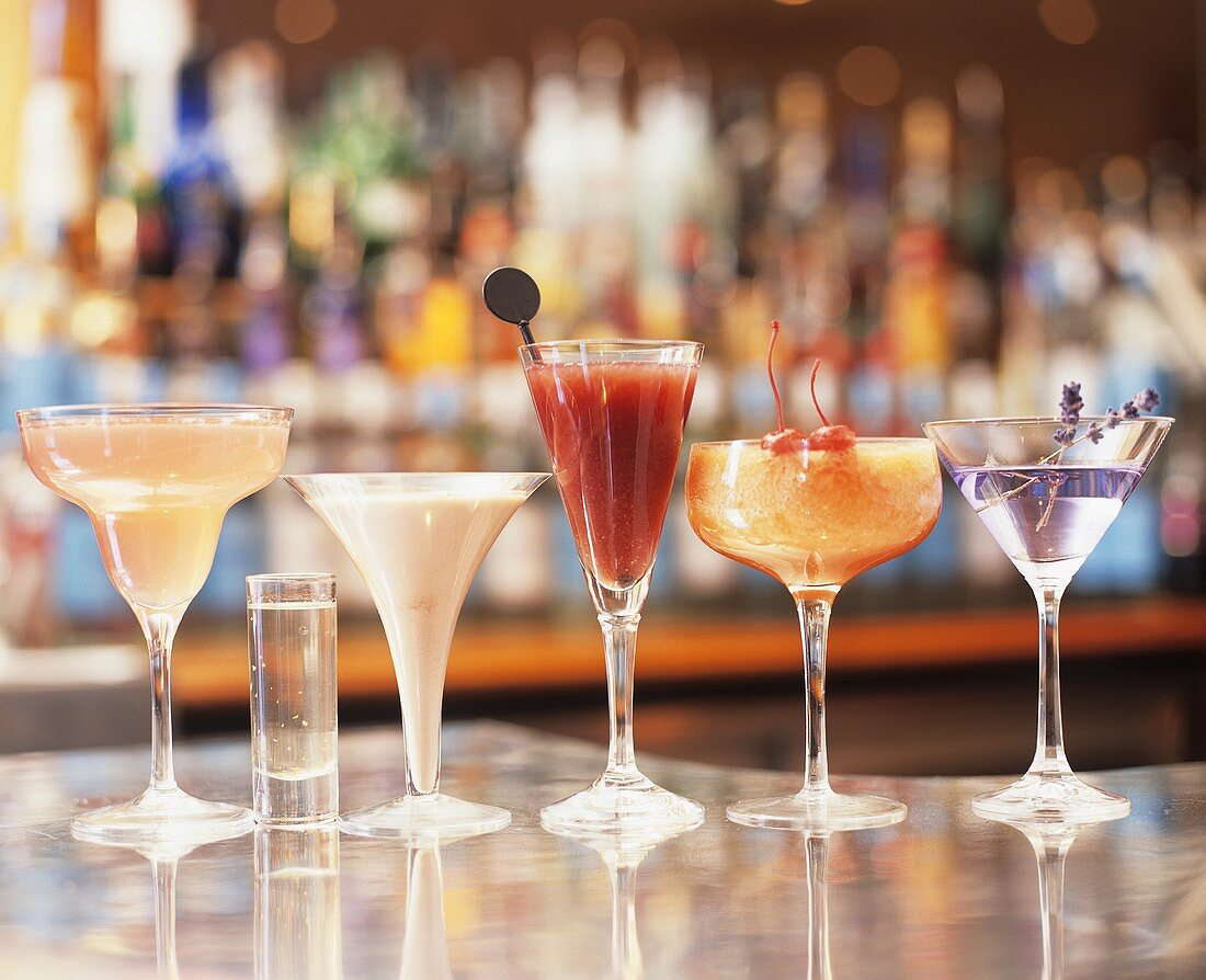 Assorted cocktails on a bar
