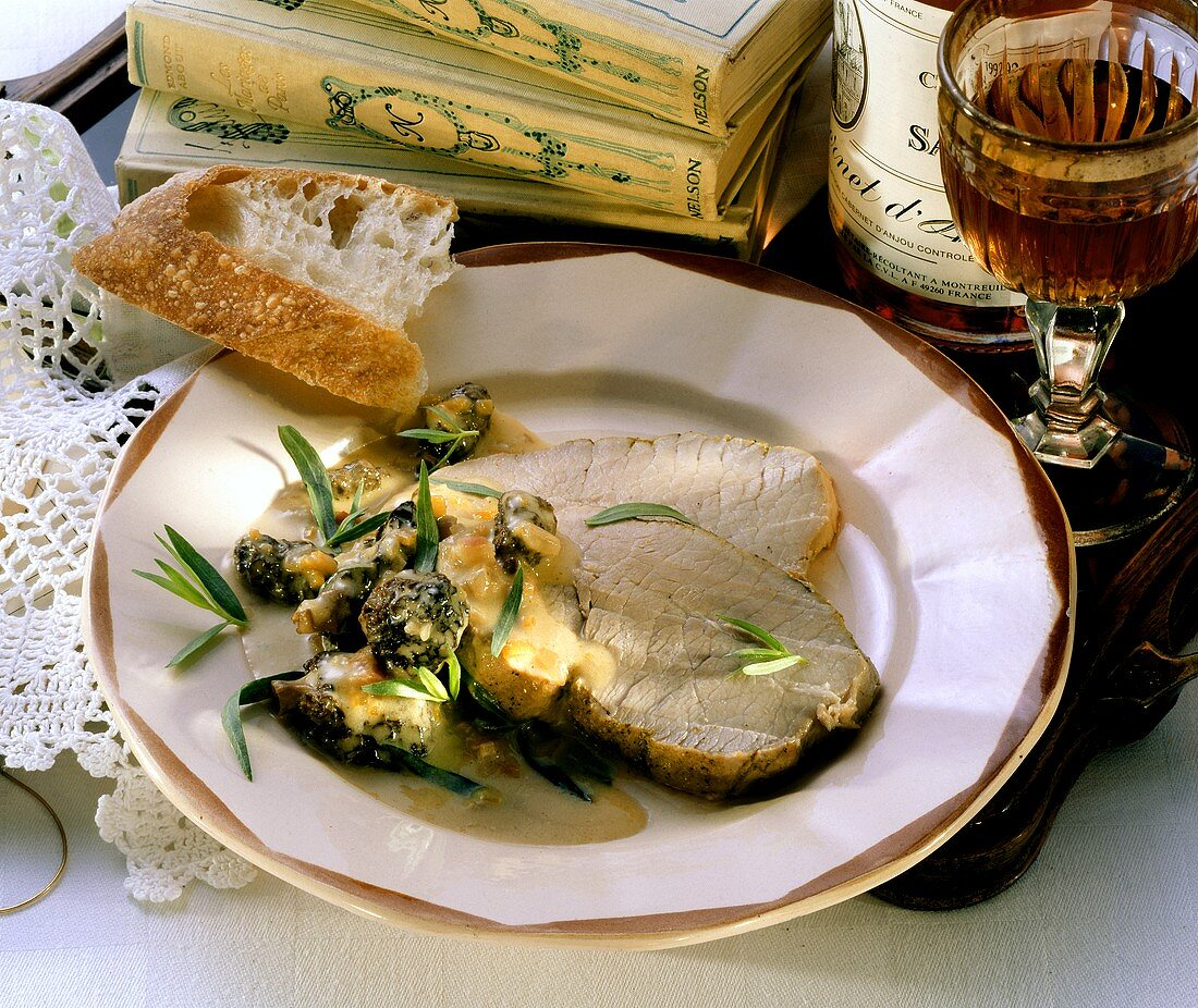 Leg of veal with morels and cream sauce (Anjou, France)