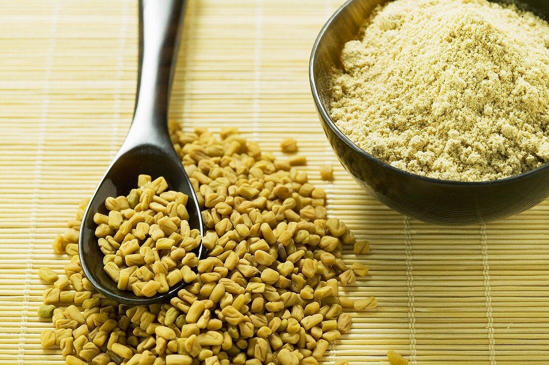 Fenugreek seeds, unground and ground