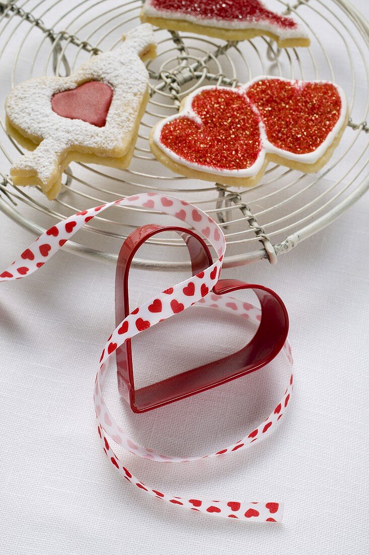 Assorted red and white biscuits for Valentine's Day
