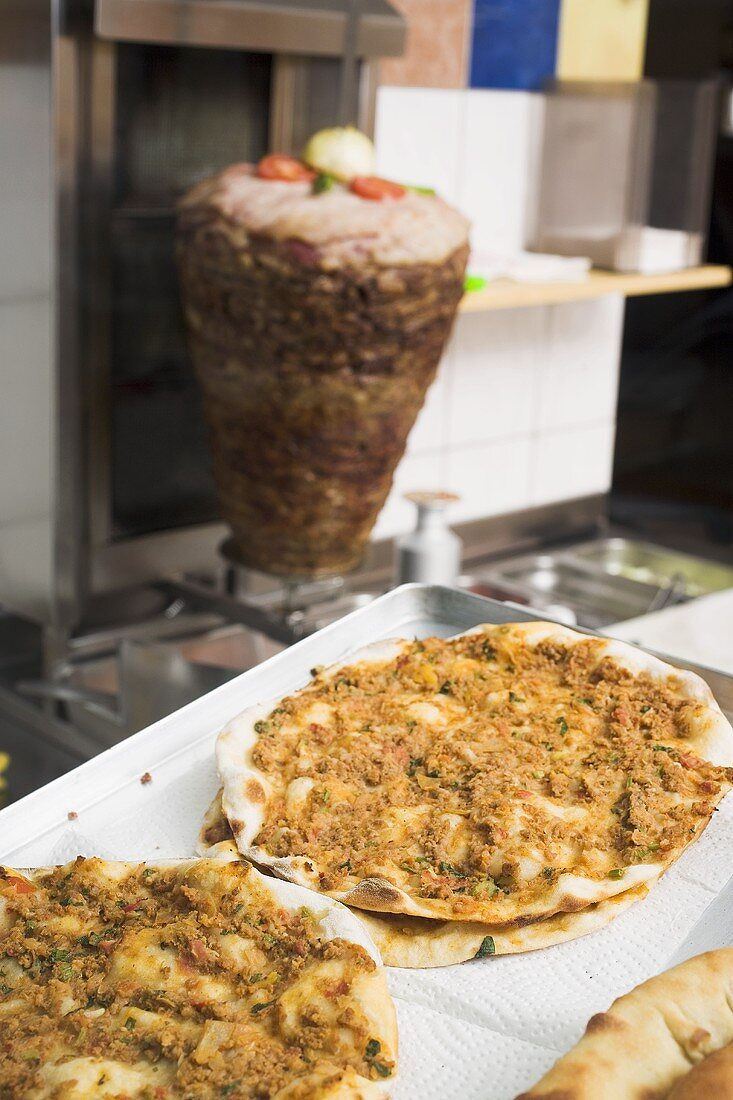 Pizza with mince in a snack bar (Turkey)