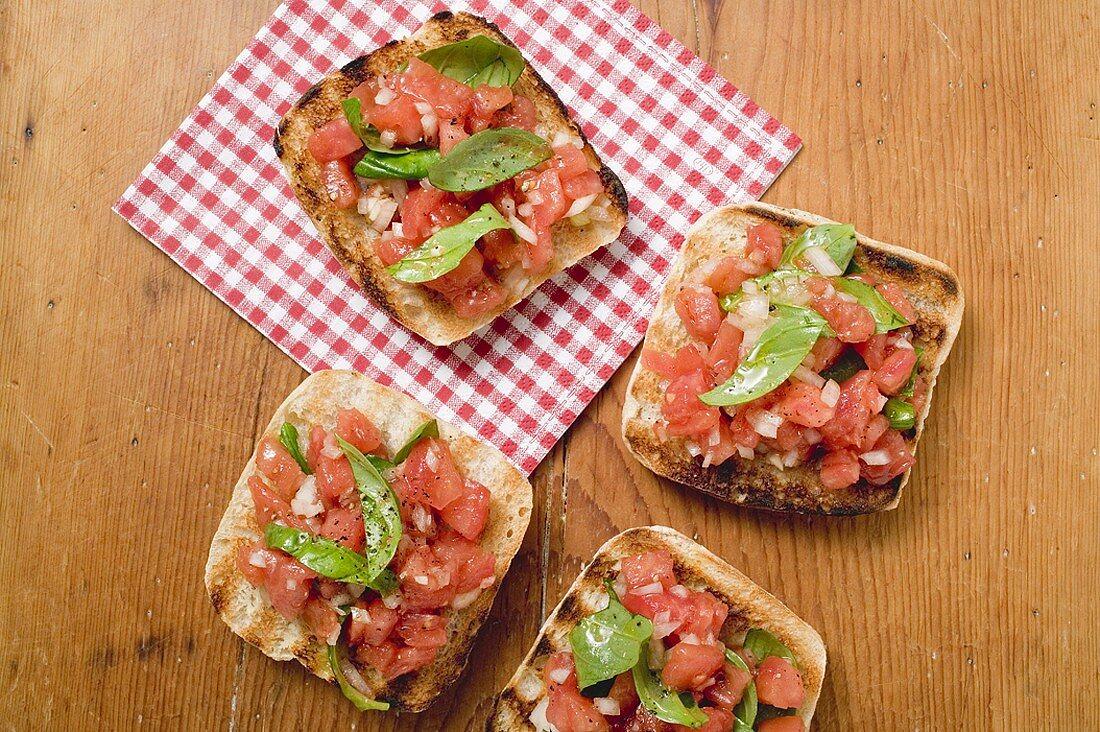 Bruschetta with tomato salsa and basil