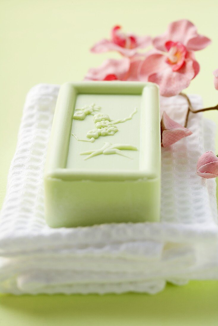 Soap on towel, orchid