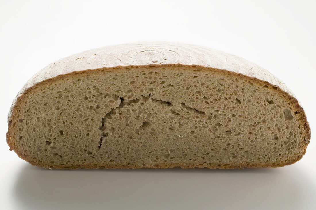 Half a loaf of Landbrot (rye bread)
