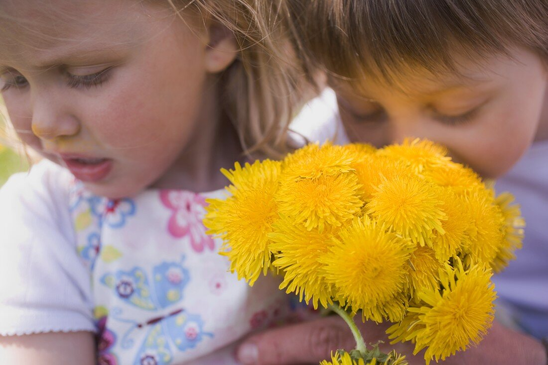Two children with a bunch of dandelions