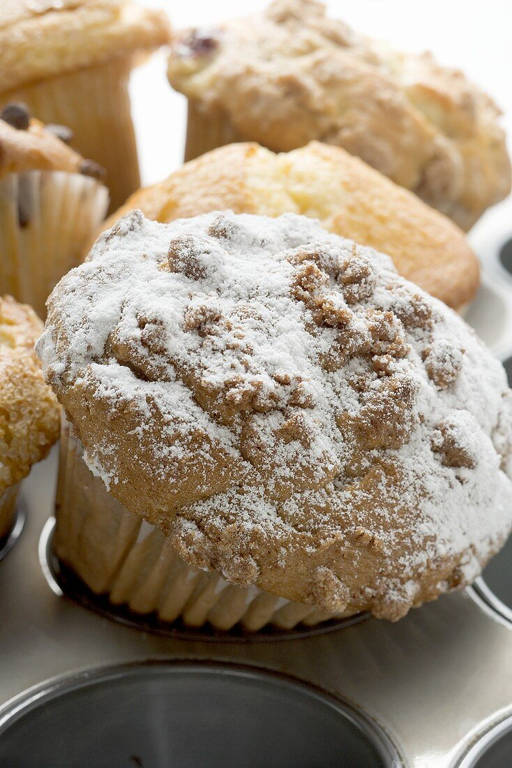 Assorted muffins in muffin tin, one with icing sugar