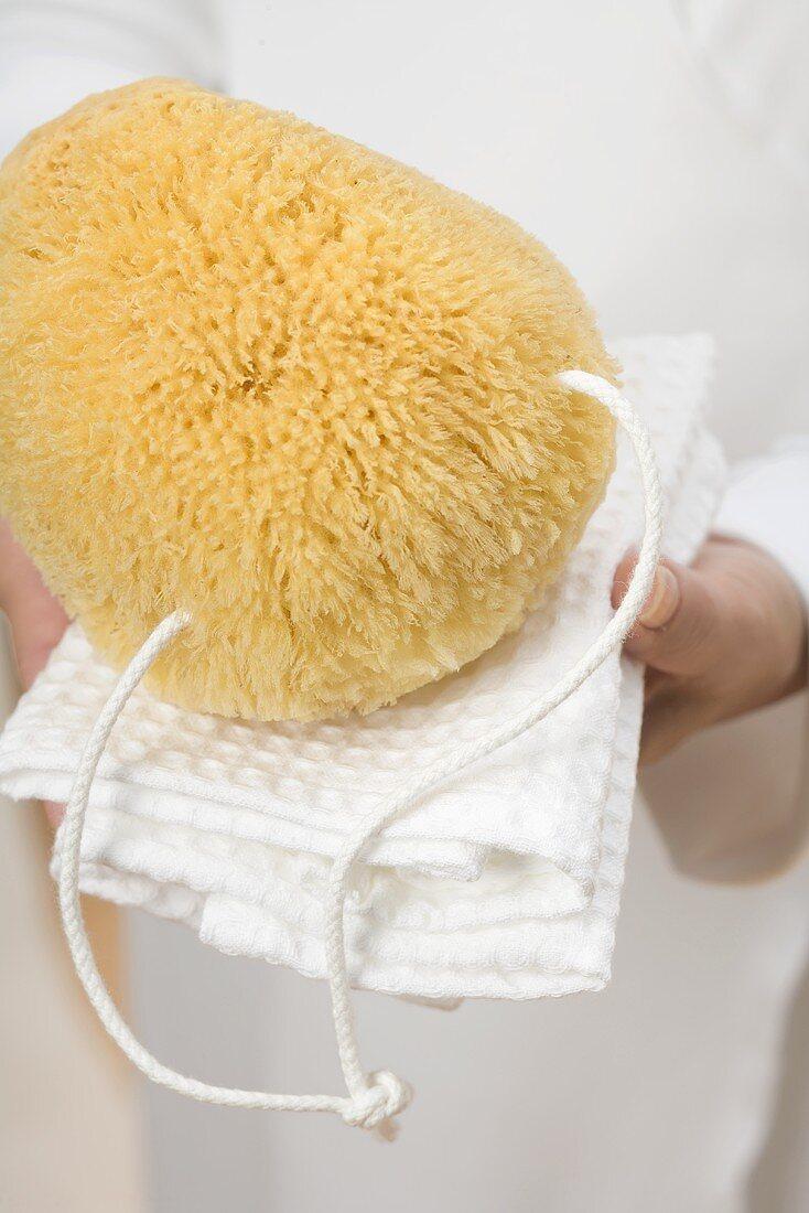 Hands holding bath sponge on white towel