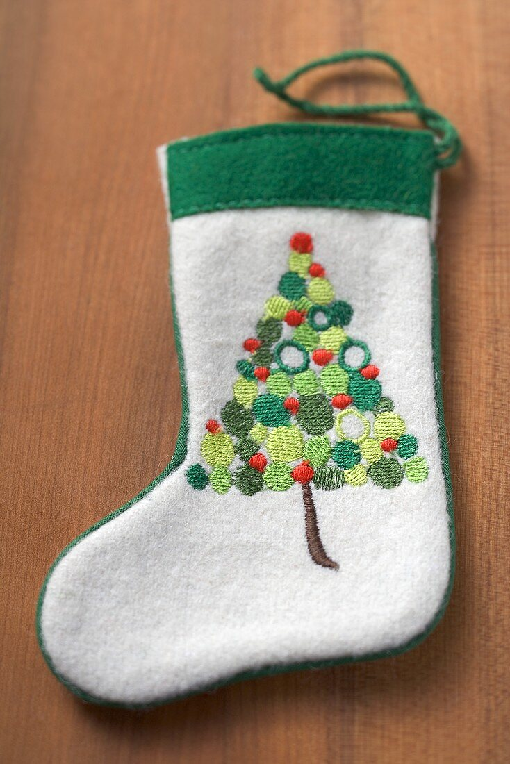 Embroidered felt boot for Christmas